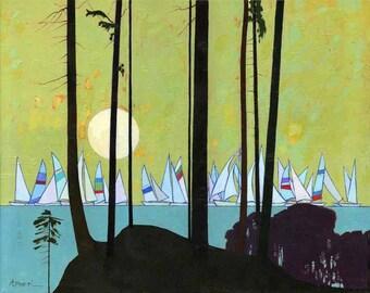 Print of Oil LANDSCAPE, sailboats oil painting, sea painting, yellow sky sunset, impressionist print, sailboats ocean art, seascape art