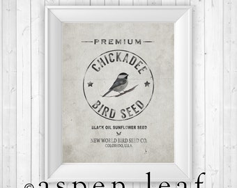 UNFRAMED PRINT ** Chickadee Birdseed Grain Sack - 8x10, 11x14, 16x20, 20x30