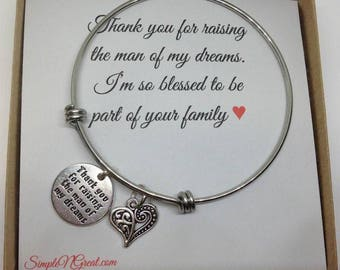 Mother Of The Groom Gift, Mother In Law,Thank You For Raising The Man Of My Dreams, Mother In Law Bracelet