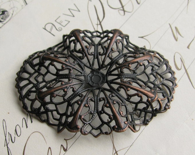 Rippled oval brass filigree - 35mm x 47mm - dark antiqued brass, aged black patina, pierced ornament, wrap wrapping