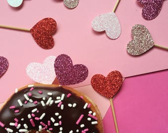 Heart Cupcake Topper | Glitter Valentines Topper | Valentine's Day Party Decorations | Holiday Decor | Galentine Hearts Cupcake Toppers