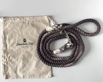 Charcoal Solid Ombre or Marbled Cotton Rope Dog Leash