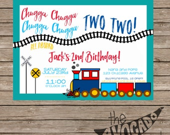 Chugga Chugga Train Children's Birthday Invitation - DIY Printing or Professional Printing