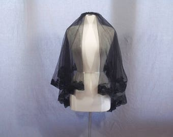Black 2 Tier Elbow Legnth Lace Edge Bridal Wedding Goth Gothic Costume Veil With Comb Renaissance Mourning