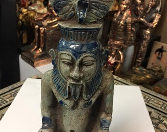 Vintage Amazing and Unique Egyptian Statue GOD BES Natural Stone Made in Egypt