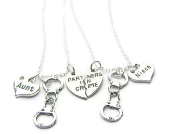 2 Partners In Crime Aunt Niece Handcuff Necklaces, Best Friends Necklaces, Sisters Necklaces, Handcuff Necklaces, Friends Necklaces