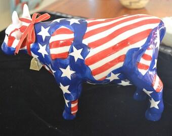 USA Colors Porcelain Cow Bank