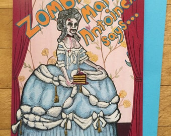 Zombie Marie Antoinette Birthday Card