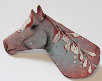 Enamel Horse Brooch Lapel pin III - OOAK - Vitreous enamel with hand painted leaf design