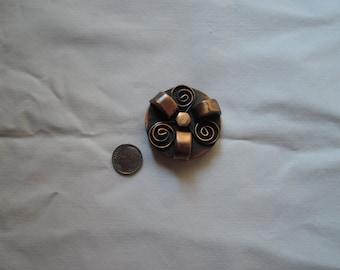 Round copper Brooch