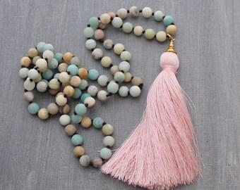 Tassel Necklace - Amazonite Necklace - Layering Necklace, Tassle Necklace, Statement Necklace, Boho Jewelry, Beaded Necklace, Blush Necklace