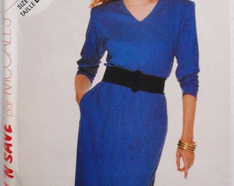Easy Stitch N Save Sewing Pattern - Pullover V Neck Dress - McCall's 2808 - Sizes 14-16-18, Bust 36 - 40, Uncut