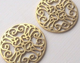 Sale 10pcs - Antique Gold- Round Filigree connector, link, Pendant - and more..
