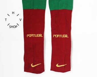 Vintage Nike Portugal team soccer socks / National Team Away Home Football knee socks / Unisex Mens Kids Burgundy Red Green socks / 2000s