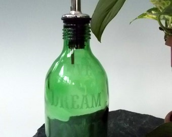 Upcycled Glass Bottle Cruet / Pourer Oil / Vinegar Decanter with etching Live Dream Love...