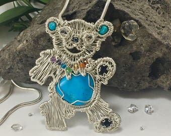 Dancing Bear Grateful Dead Inspired Sterling Silver Wire Wrap Pendant with Sleeping Beauty Turquoise, Chakra gemstone, Herkimer Diamond eyes