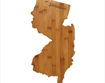 Engraved New Jersey Cutting Board - New Jersey Shaped Bamboo Cutting Board Custom Engraved - Wedding Gift, Couples Gift, Housewarming Gift