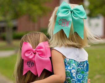 Monogrammed Bow, Monogrammed Hair Bow, Monogrammed Cheer Bow,  School Spirit Bow,  Monogrammed Hair Accessories