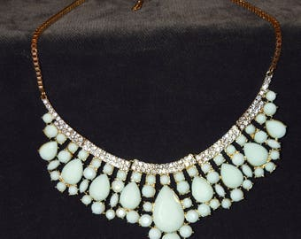 """Vintage Jadite Green in Color Necklace, Accented with Glass Stones, Estate Jewelry, Costume, Classic, 19"""""""