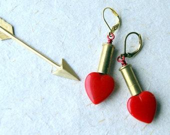 Red Heart Bullet Earrings
