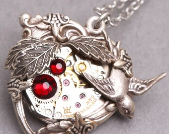 Silver Heart Necklace Steampunk Necklace Red Heart Necklace Steampunk Heart Necklace