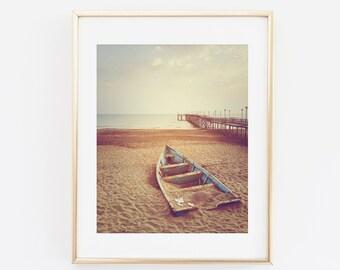 Boat on Beach Photography, Beach Print, Nautical Print, Beach Photography, Boat Wall art, Coastal Home Decor, Contemporary Photo Art Print