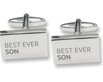 Engraved BEST EVER SON rectangle cufflinks, rhodium plated - BES8