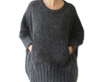 Dark Gray Hand Knitted Sweater with Pocket Plus Size Over Size Tunic - Dress Sweater by Afra
