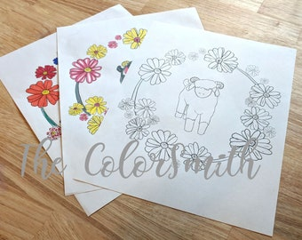 Printable Animal Coloring Page Sheep Lamb Flowers.