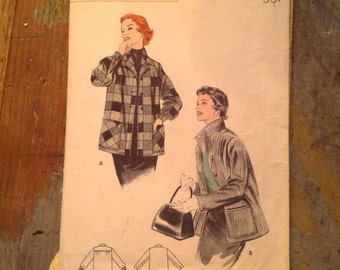 1950's Vintage Butterick Sewing Pattern 7044 Tailored Box Jacket Sz 14