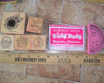 6 Mainly Vintage Wood Stamps with Spring designs w/used Red Stamp pad