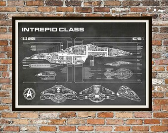 Star Trek Voyager Blueprint Art of Intrepid USS Voyager Class Technical Drawings Engineering Drawings Patent Blue Print Art Item 0100C