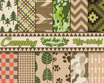 Camping digital papers Pack, Seamless Patterns - 12pcs 300dpi - (paper crafts,card making,scrapbooking) Nature digital paper, Commercial use