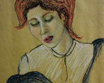 """Drawing with oil pastels and charcoal, title of the Opera: """"Agnese"""""""
