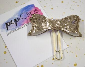 Planner Clip - Planner Bookmark - Gold Glitter Bow Planner Planner clip - Bow clip- Felt Planner Clip - Feltie clip - Glitter Bow Clip