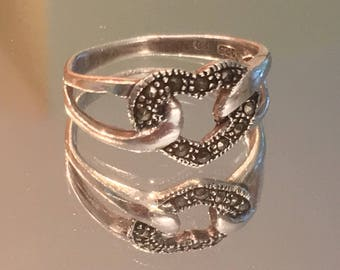 Sterling Silver & Marcasite Heart Ring ~ 925