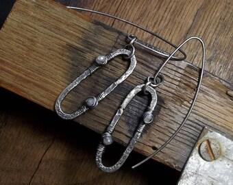 Raw sterling silver earrings Moonstone Oxidized Organic Handmade