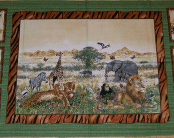 A Wonderful African Animals On The Savanna Fabric Panel By Giordano Free US Shipping