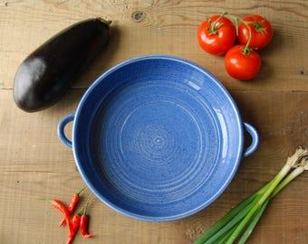 ceramic casserole dish, ovenproof au gratin dish, ceramic baking pan, handmade pottery gift for cook, cobalt blue ceramic serving dish
