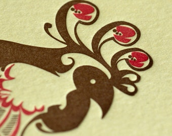 Natalie's Rooster - Letterpress Bird Notecard - Butter Yellow