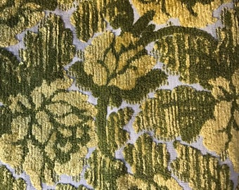 Vintage Green Yellow Floral Tapestry Mid Century Couch Arm Covers