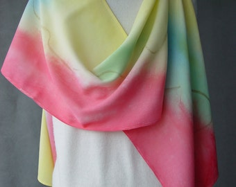 Hand Dyed Silk Scarf - Multicolored Rayon - this is much heavier than my other shawls, makes a real statement goes great with jeans holiday