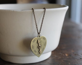 True Love Brass Heart Spinner Necklace on Extra Long Bronze Chain - Great for Layering and Love Advice - Spinner Really Spins!