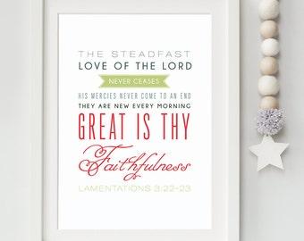 Bible Verse Art - Lamentations 3:22-23 - Scripture Print