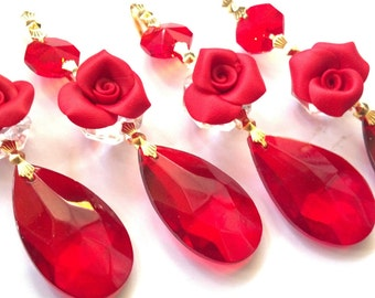 5 Red 38mm Teardrops Chandelier Crystals Ornaments with Roses