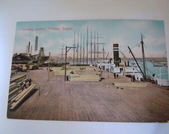Loading Lumber Portland Oregon Postcard Portland Post Card Company