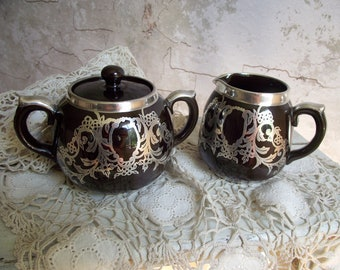 Silver Overlay Cream & Sugar , Gibson's Burslem England Pottery Brown with .925 Sterling Silver Overlay , Creamer and Lidded Sugar Bowl