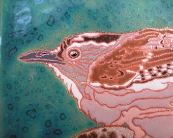 Wren on the Prowl tile, CUSTOM ORDER - 4-6 wks production time, Arts and Crafts style, birders, kitchen, bath, fireplace surround or framed