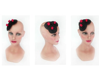 Black pillbox red straw hat fascinator, fascinator wedding, futuristic pillbox Hat woman ceremony