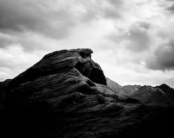 Desert Rock Formation - Landscape in Black and White - Lake Home Decor, Nevada Fine Art, Monochrome Fine Art Photography Print